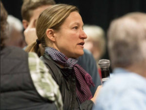 Participant asks question at Poudre River Forum