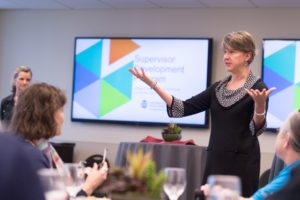 University Office of Training and Organizational Development Associate Director Marsha Benedetti speaks to a group