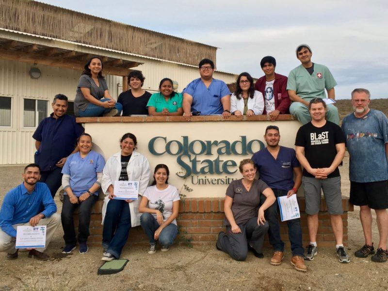 Group photo of fish pathology workshop participants in front of CSU Todos Santos sign.