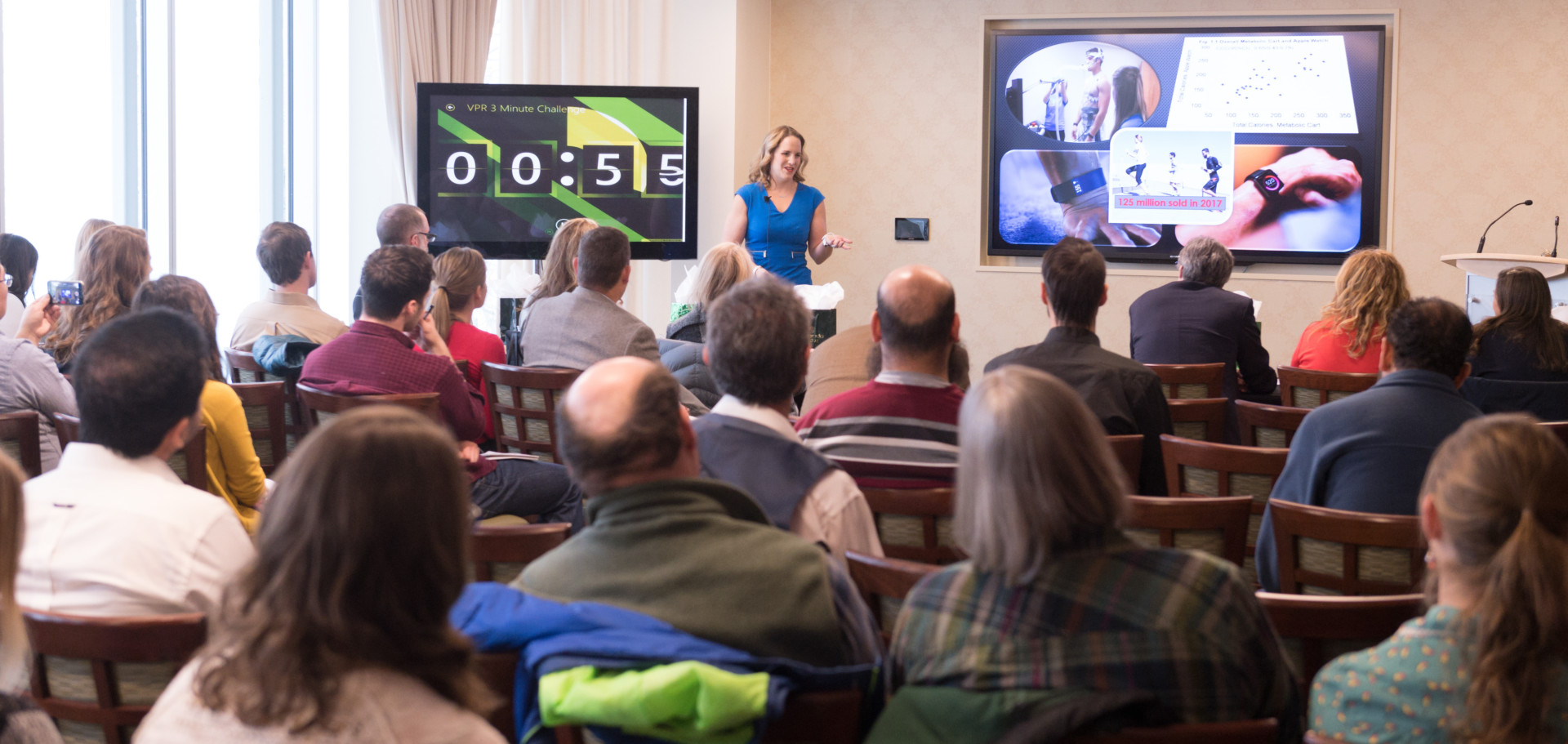 Colorado State University graduate student Kayla Nuss competes in the Vice President for Research's Three Minute Challenge