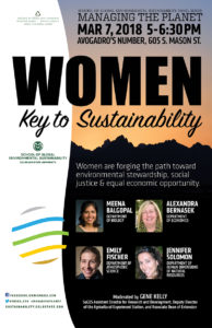 color poster for the event Women: Key to Sustainability