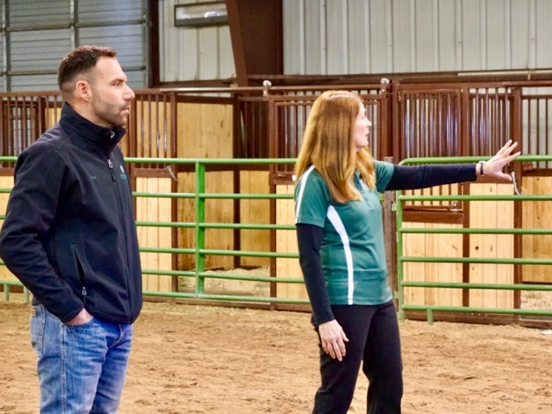 Adam Daurio and Debbie Mogor provide overview of programming to attendees at Temple Grandin Equine Center Open House.