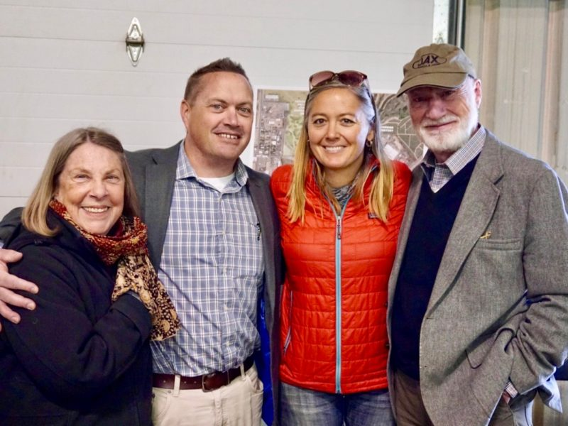 Group photo of four attendees at Temple Grandin Equine Center Open House.