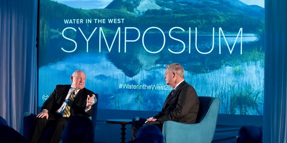 U.S. Secretary of Agriculture Sonny Perdue and former Secretary of Agriculture Tom Vilsack talk about water and food at the Water in the West Symposium hosted by the Colorado State University System at the McNichols Civic Center in Denver, April 27, 2018.