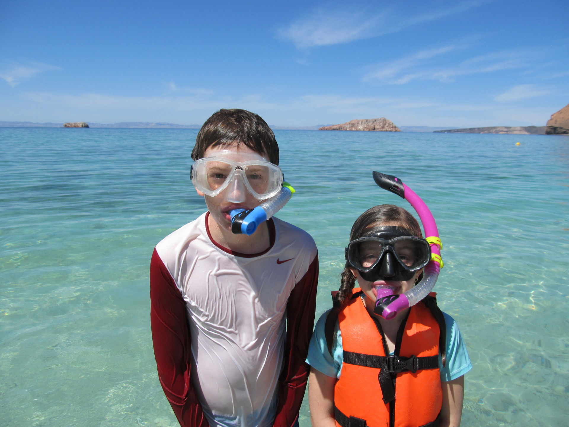 Two kids with snorkels