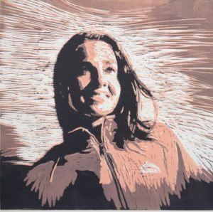 Becky Hammon woodcut