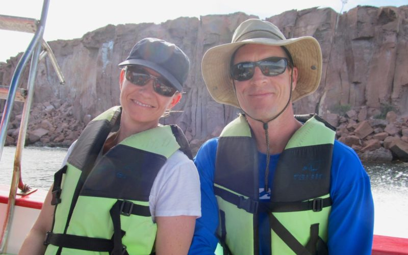 Two Todos Santos Center Family Adventure Week participants wearing life jackets.