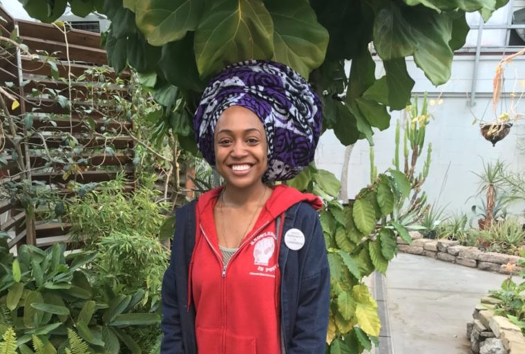 Shayla Monteiro in greenhouse