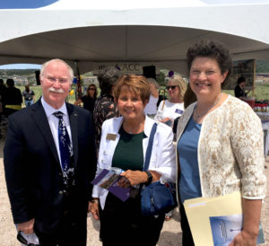 Vice President for Engagement Lou Swanson, Associate Vice President for Engagement Kathay Rennels and CSU Board of Governors member Jane Robbe Rhodes at the Arapahoe Community College Castle Rock Collaboration Campus groundbreaking.