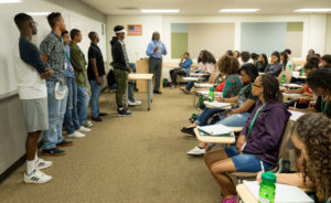 African-American high school seniors from around the nation research issues important to the African-American community during the Black Issues Forum at Colorado State University.
