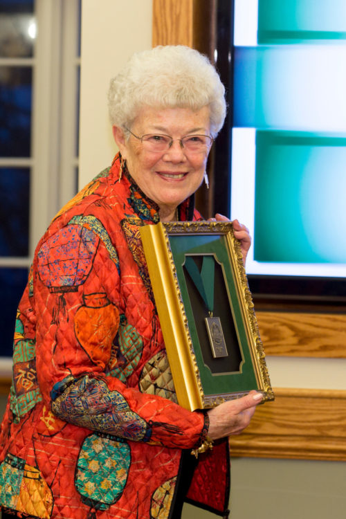 Dorcas Morgan Murray with Founder's Day medal.