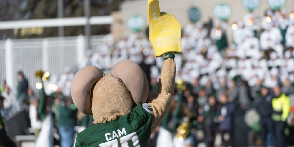 CAM the Ram mascot at Canvas Stadium