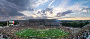 stadium at sunset