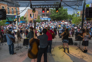 An outdoor concert in Old Town Square, Fort Collins. Photo credit: Richard Haro.