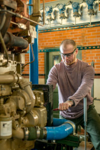 A researcher at CSU's Engines and Energy Conversion Lab.