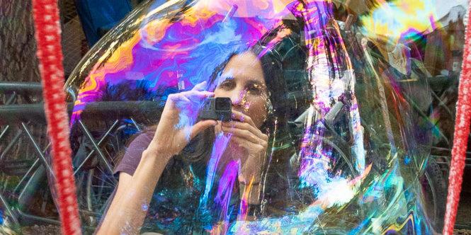 Giant soap bubble at Street Fair