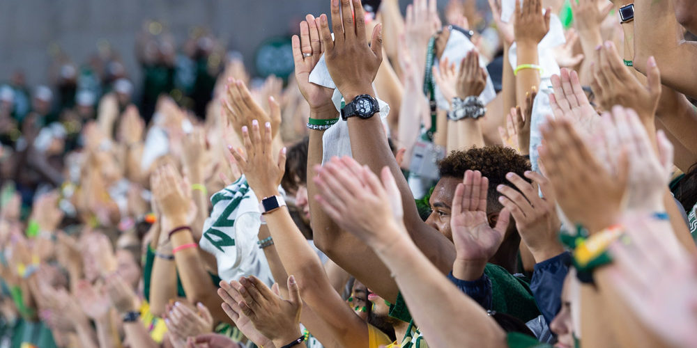 Hands clapping at Pep Rally
