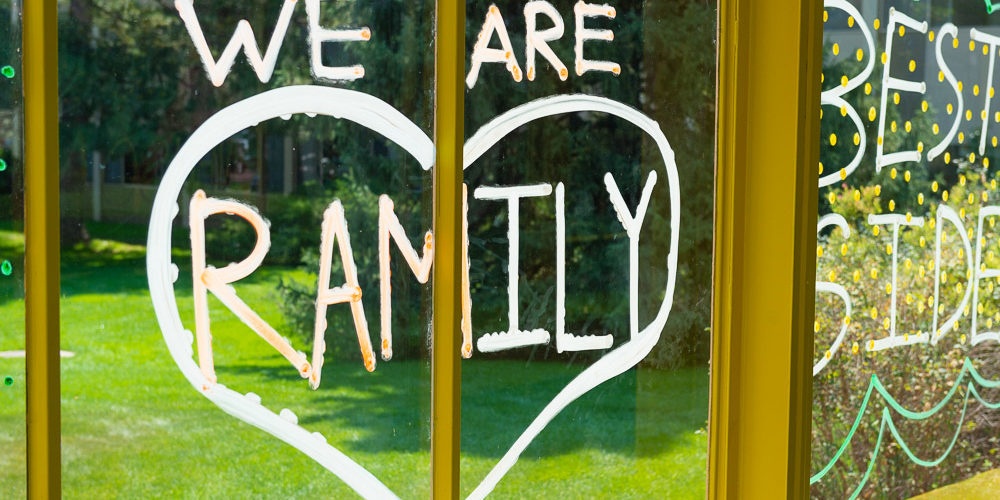 Ramily heart on window