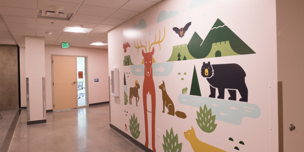 Mural in building corridor