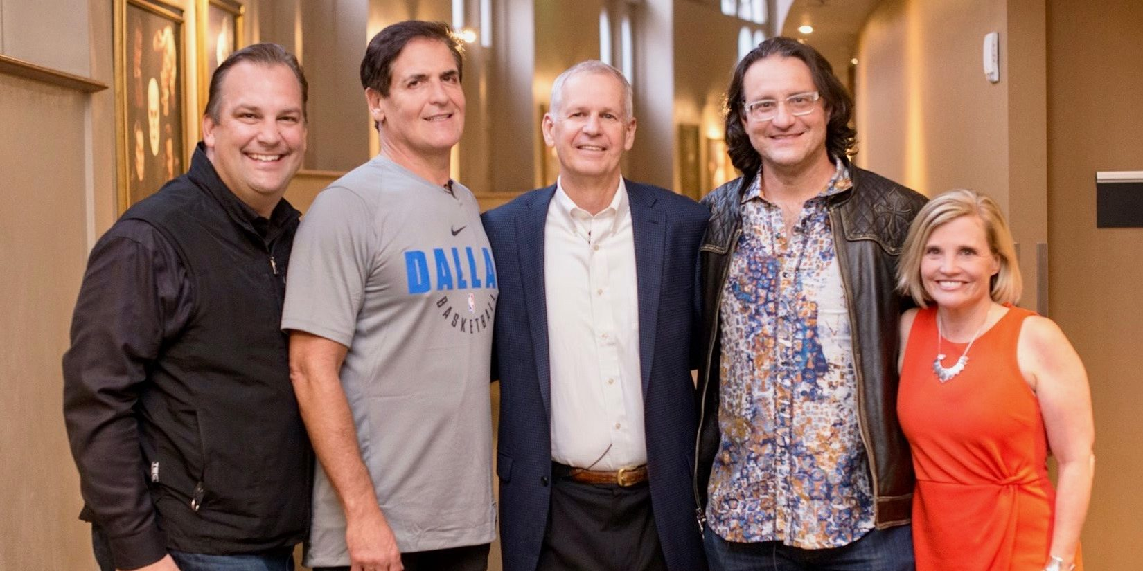Denver Startup Week founders (Erik Mitisek, Brad Feld, Tami Door) pose for group photo with Mark Cuban.