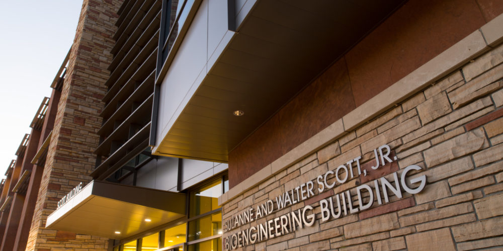 entrance sign at the Scott Engineering Building