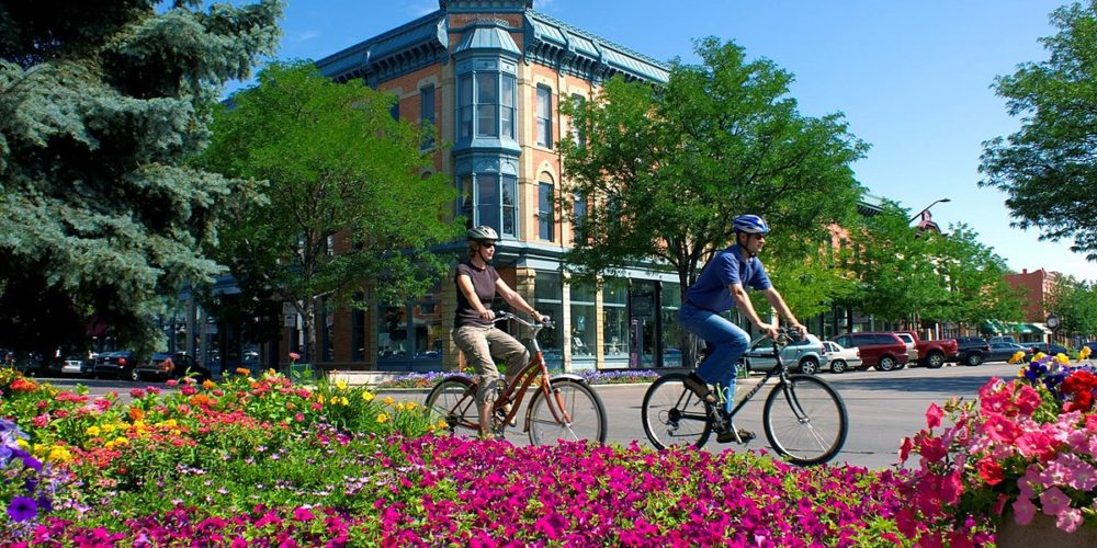Bikers and flowers in Old town
