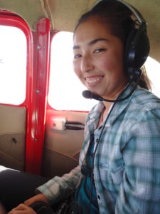 Kira Paik in a helicopter