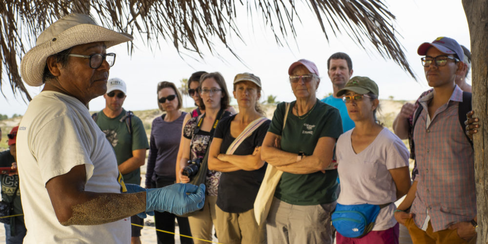 Participants of the 2018 Spanish & Culture Immersion Course at the CSU Todos Santos Center listen to instructions from representative of Grupo Tortuguero de Todos Santos A.C., prior to releasing baby sea turtles into the Pacific Ocean.