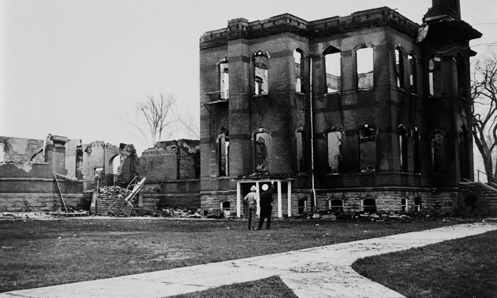 Old Main after burning in 1970