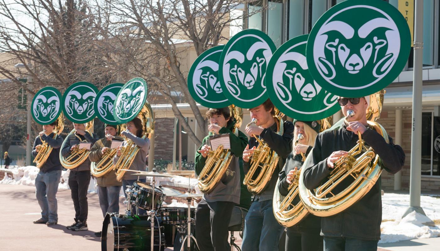 Tuba players on the plaza
