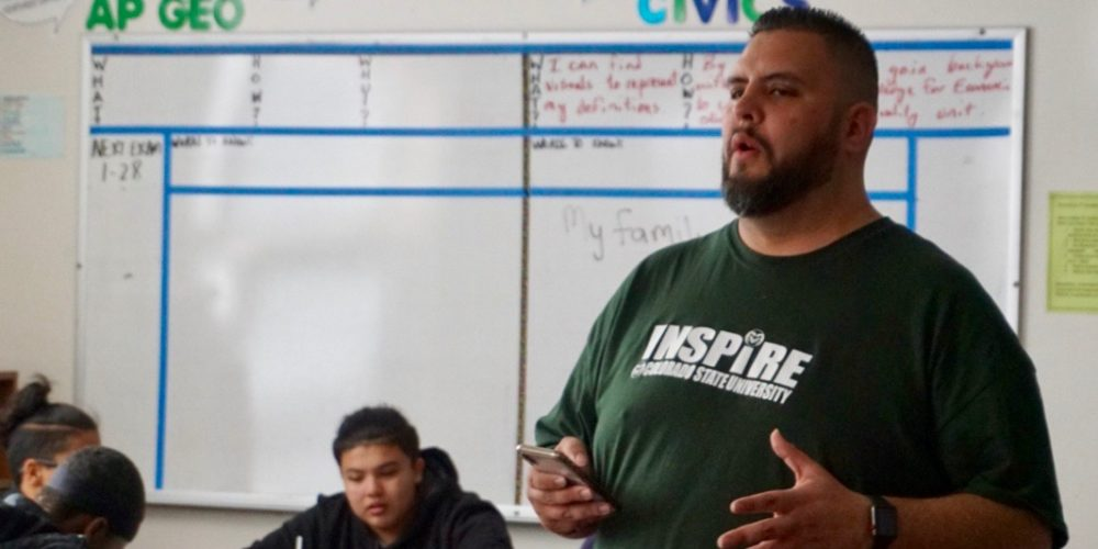 Jesse Ramirez speaks to high school students