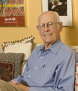 Maury Albertson, Emeritus Professor, Civil Engineering, photograhed at his home in Fort Collins.