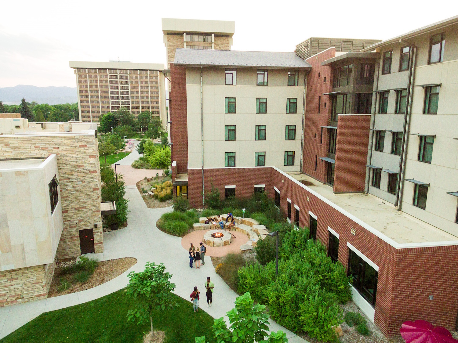 Aerial view of residence hall