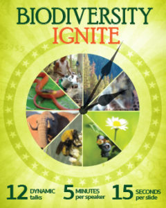 Biodiversity Ignite event poster, showing different species