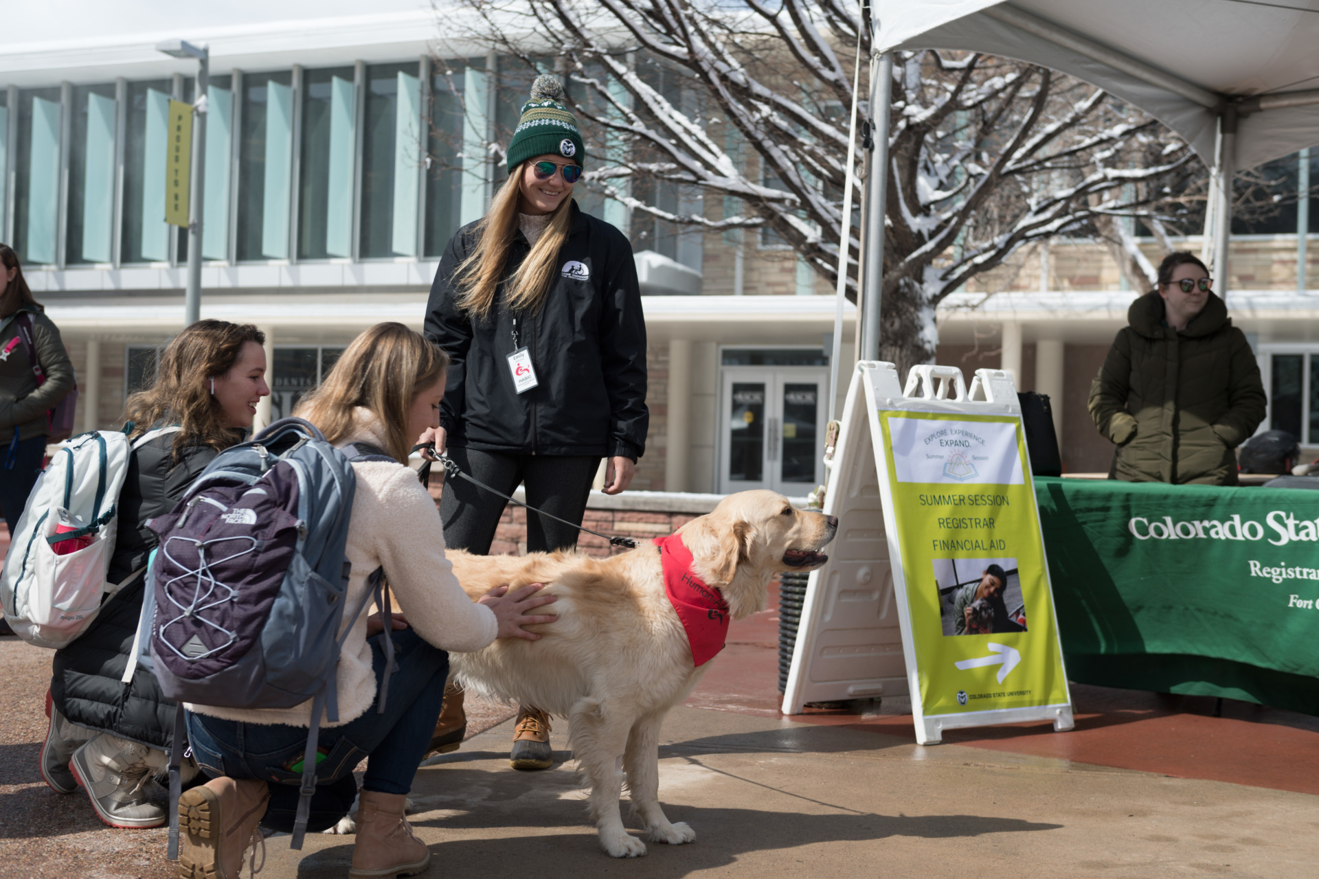 Colorado State University social work student Emily Oltmanns' Human Animal Bond in Colorado therapy dog Haddix entertains students and encourages them to get information on Summer Session during Pups on the Plaza