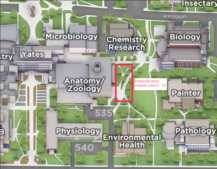 Map of sidewalk area closure by Anatomy/Zoology Building