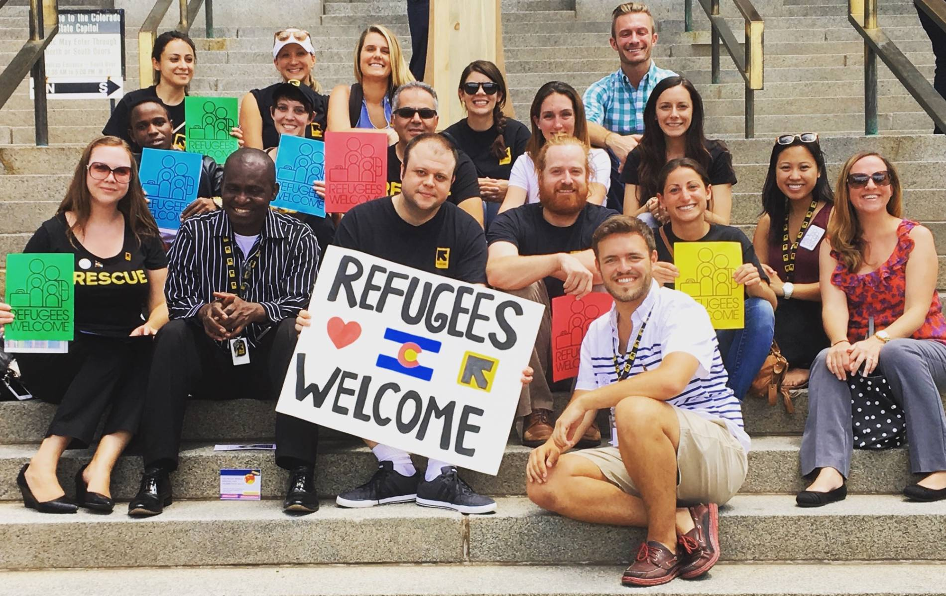 Baugh with refugee advocacy group
