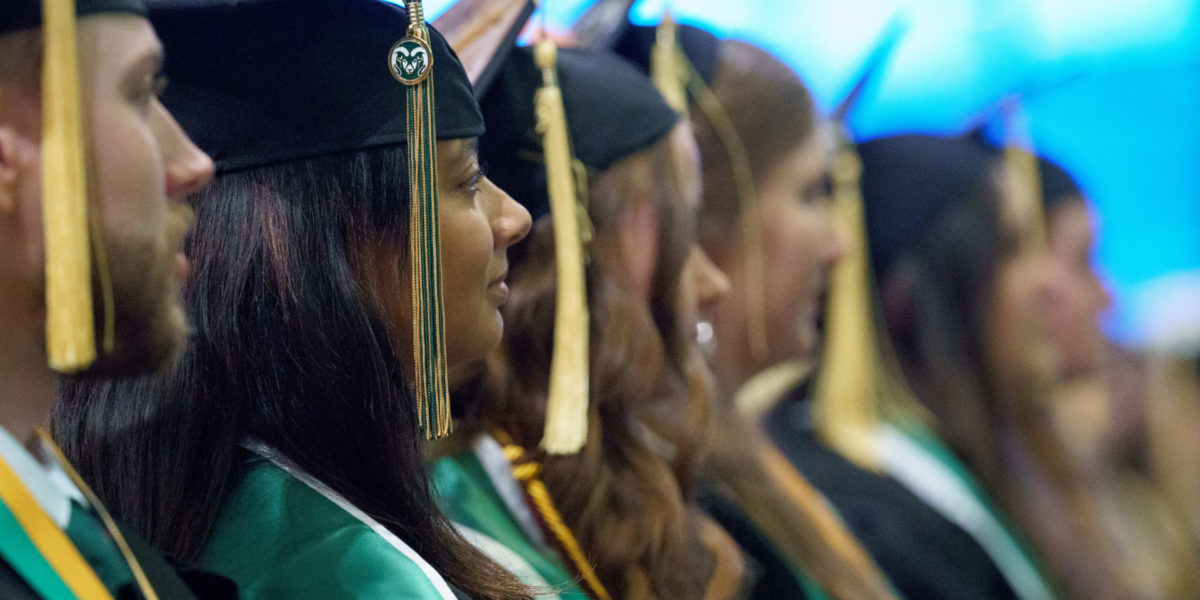 CSU students at commencement ceremony.