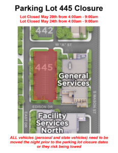 Parking lot closure map