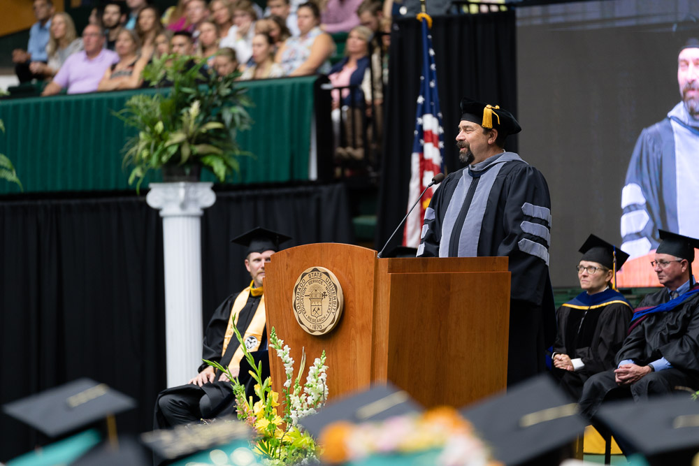 Tony Frnak delivering final commencement address as CSU President