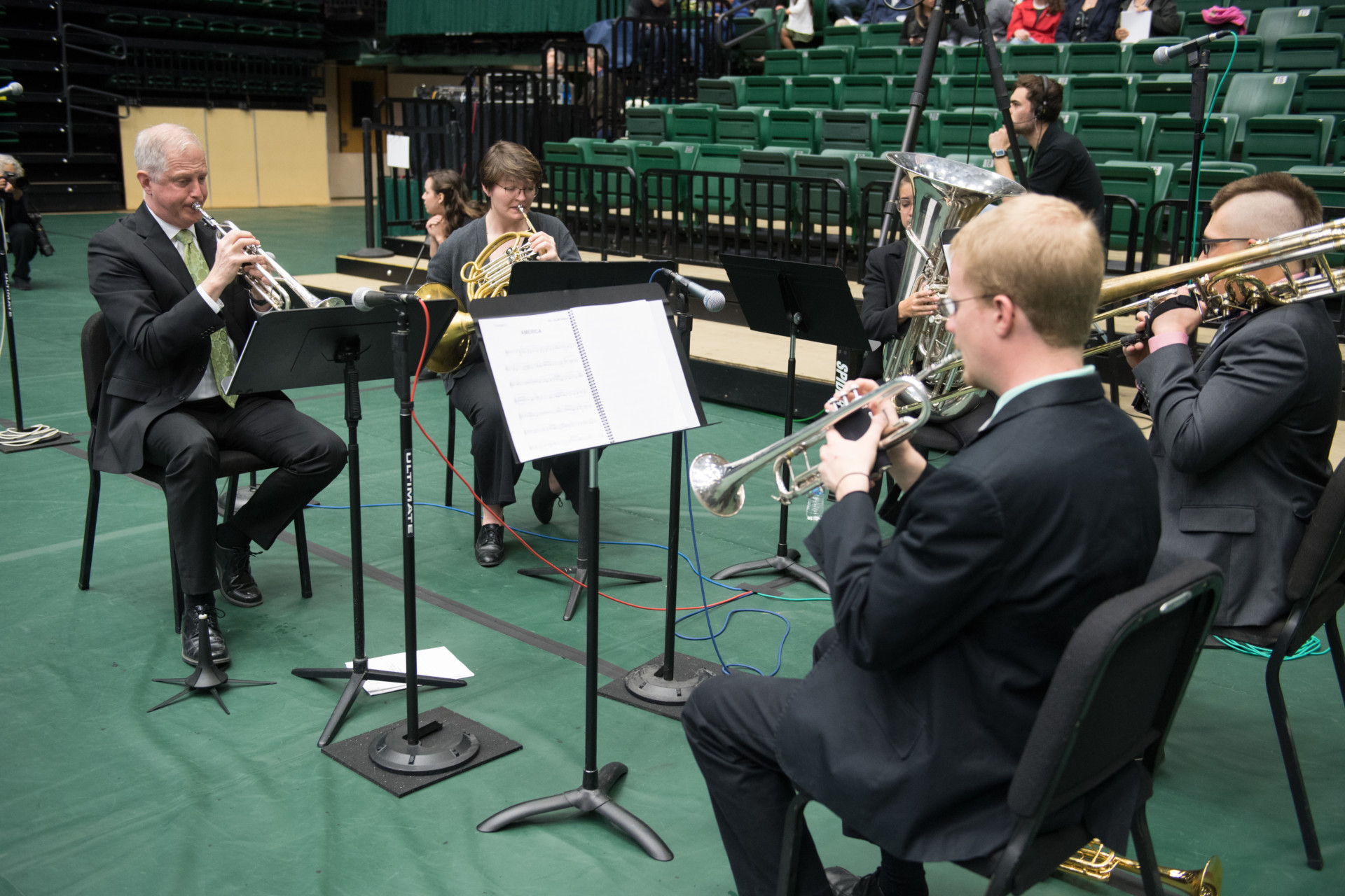 Brass quintet playing for Commencement