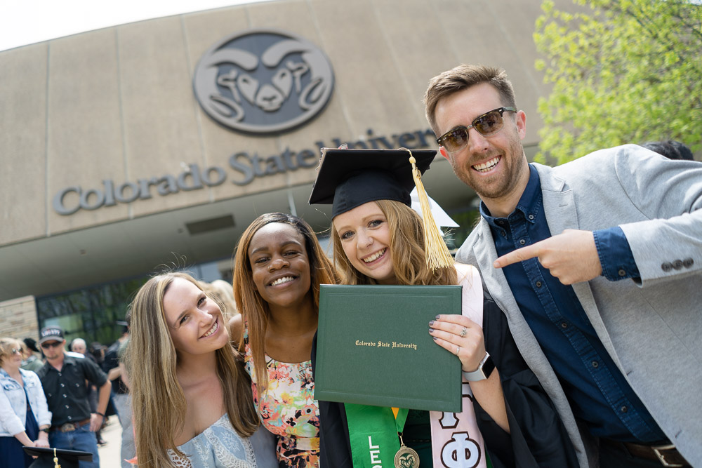 Graduate and friends outside Moby arena
