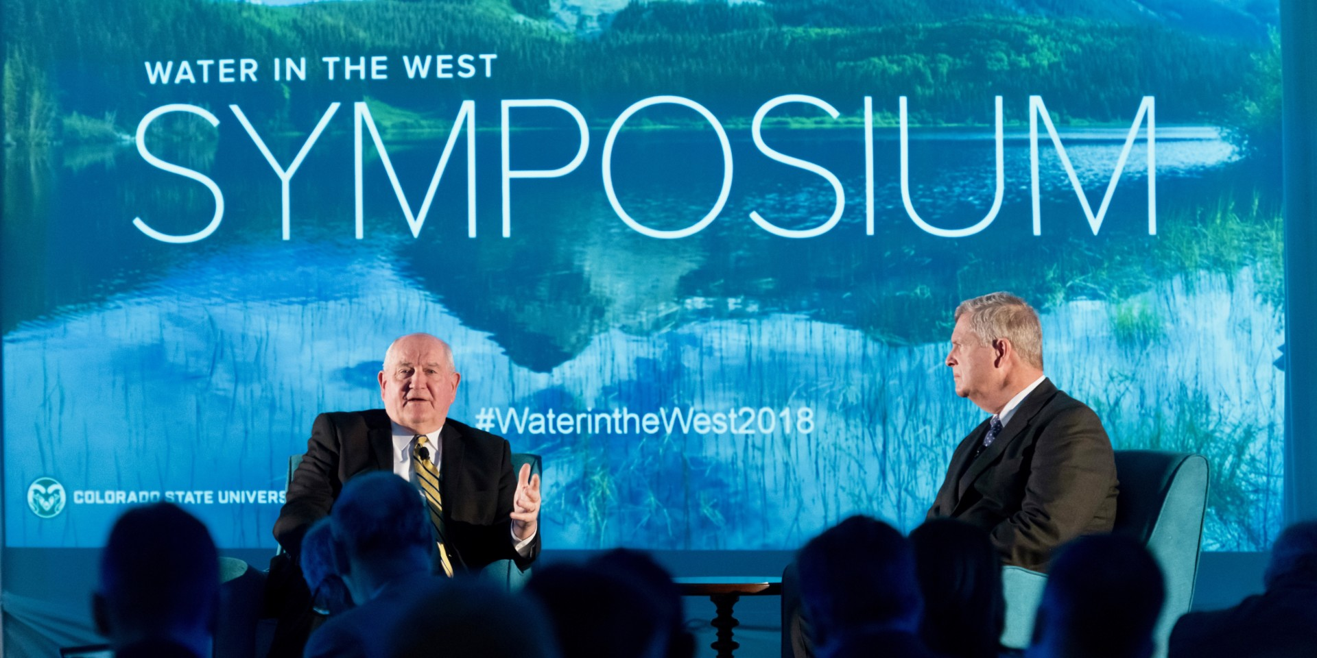U.S. Secretary of Agriculture Sonny Purdue and former U.S. Secretary of Agriculture Tom Vilsack engage in a dialogue about water during the inaugural CSU System Water in the West Symposium in 2018.