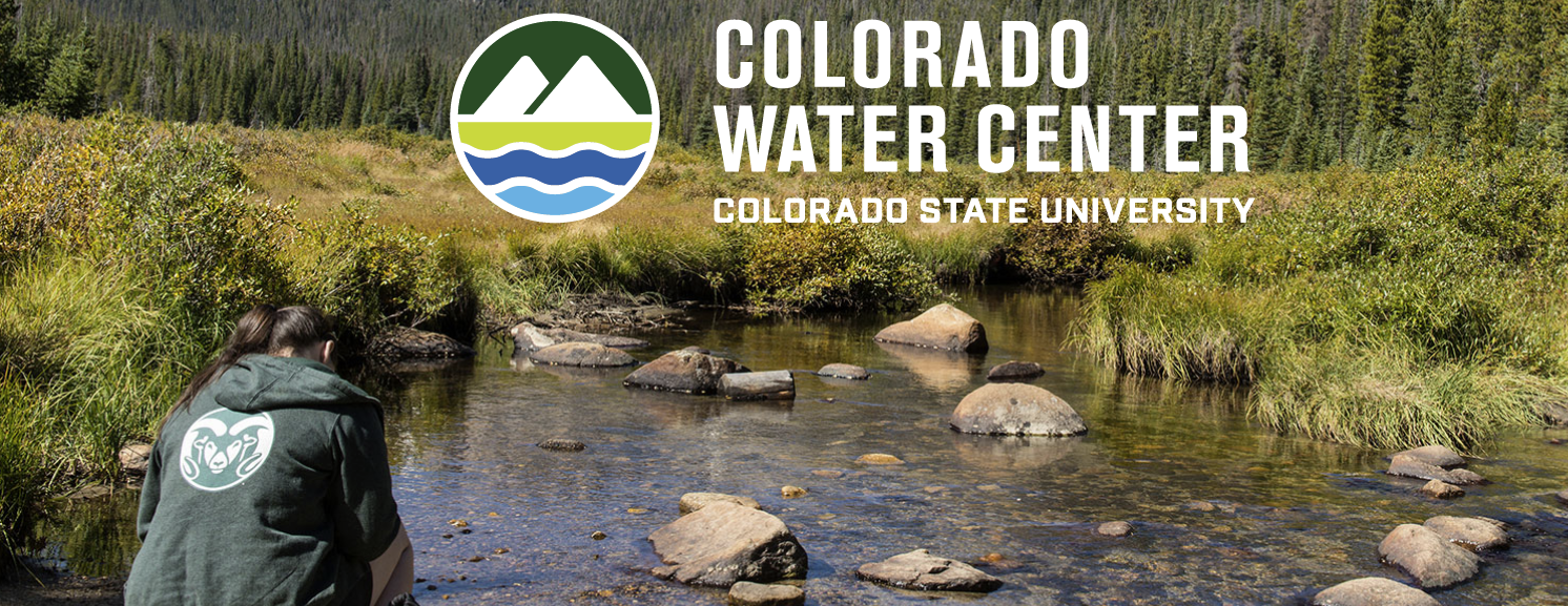 Photo of a CSU student working in a river with the Colorado Water Center logo