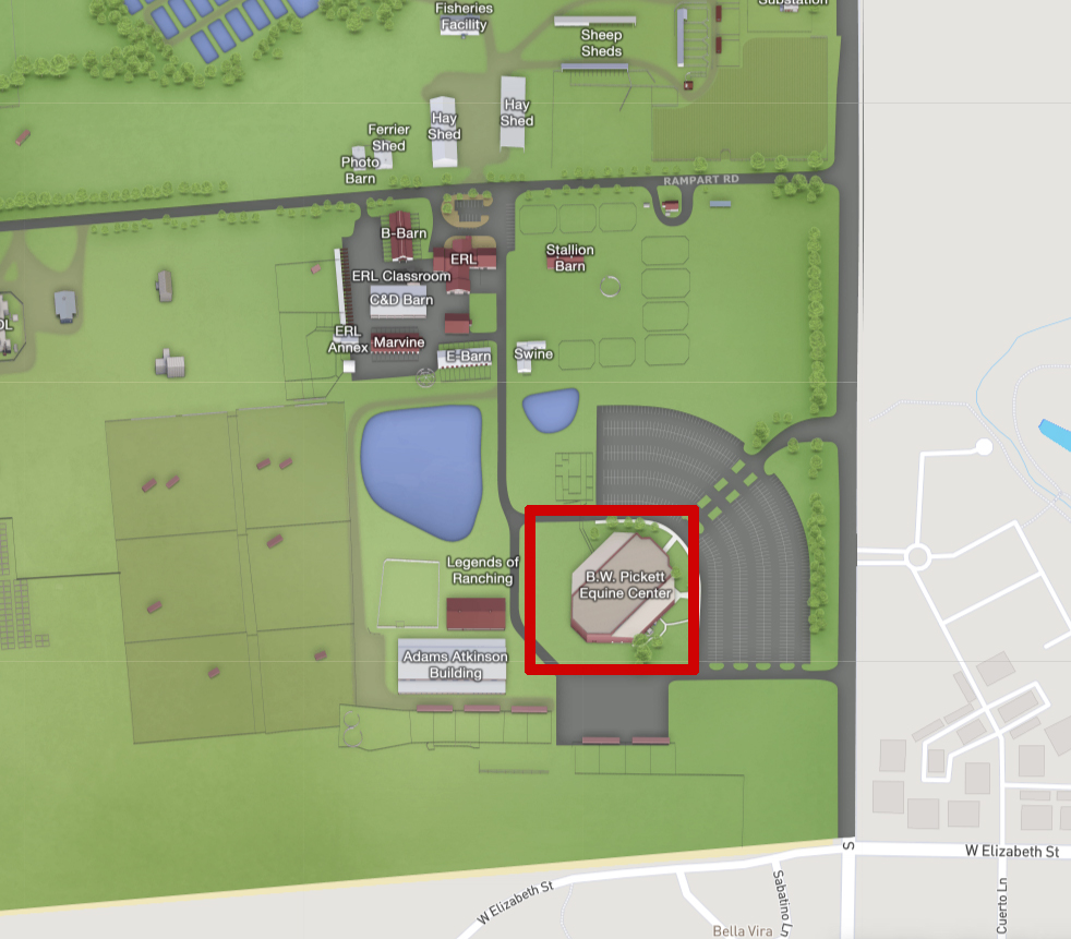 Map of B.W. Pickett Equine Center Arena
