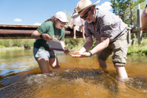 CSU's Dave Anderson helps a student figure out what bugs are in the Poudre River at CSU's Mountain Campus