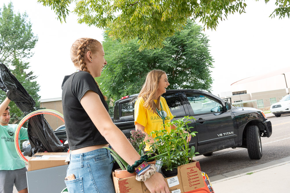 Girls carrying box of plants