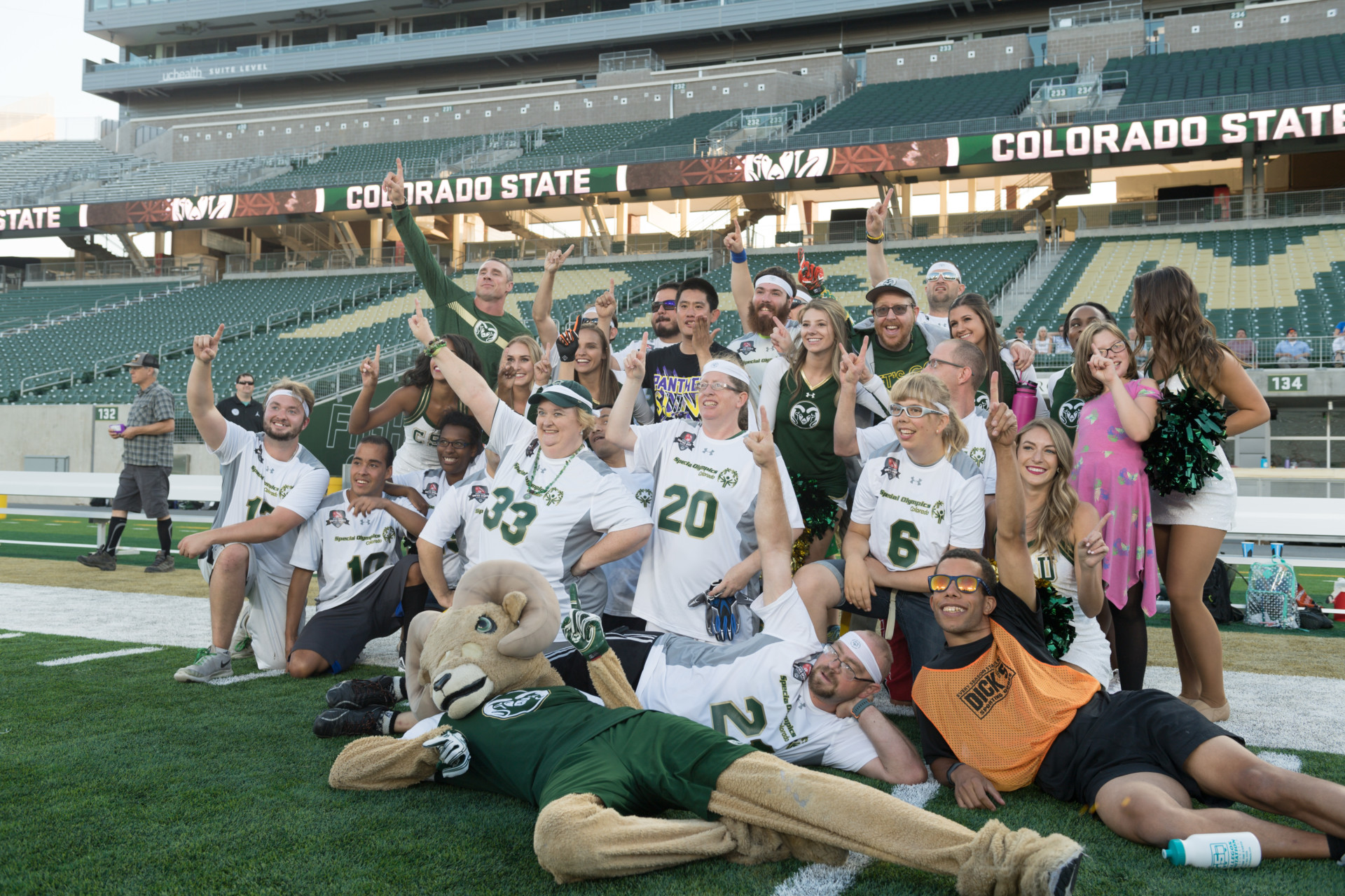Colorado State University and University of Colorado face off for the Special Olympics Rocky Mountain Showdown Unified Flag Football game, August 27, 2019 at Canvas Stadium.
