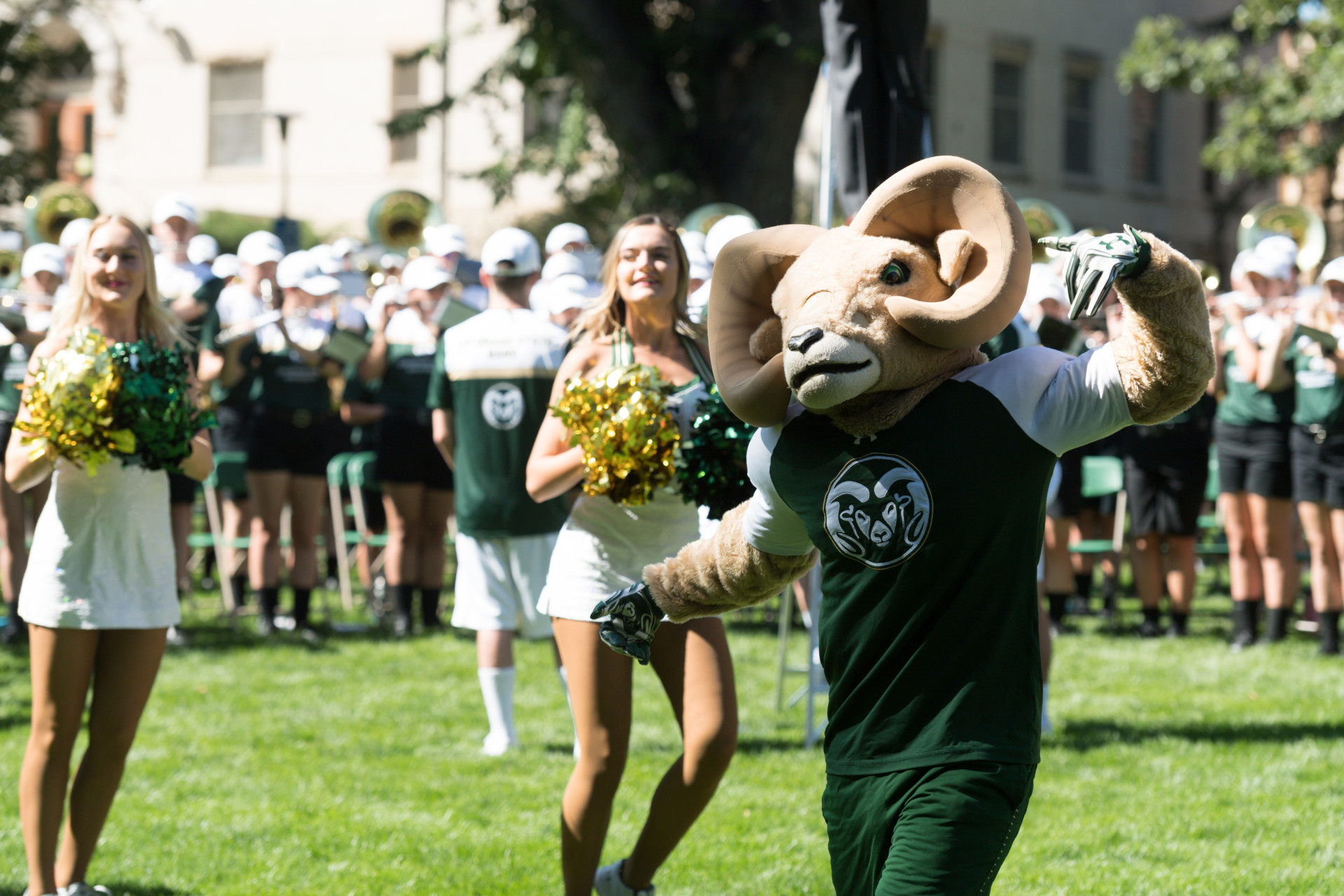 The Colorado State University Marching Band and Visual Ensemble perform at the 2019 Fall Address