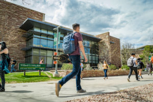 Students enjoy a warm spring day on the Colorado State University campus, April 26, 2019.